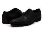 David X Shoes: Bruner Genuine Ostrich Leg & Calf Oxford Black