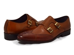 David X Shoes: Ethan Genuine Ostrich & Calf Monk Strap Cognac