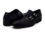 David X Shoes: Ethan Genuine Ostrich & Calf Monk Strap Navy