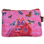 Fuchsia Cats Cosmetic Bag