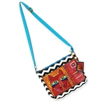 Wiskered Cats Crossbody Turq.