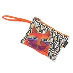 Whiskered Cats Orange Wristlet