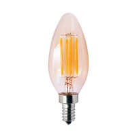 Halco Decorative B11 Filament Bulb, 3.8 Watt, E12 Base, Amber Lens, 2200K, Dimmable-View Product