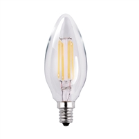 Halco Decorative B11 Lamp, 3.8 Watt, E12 Base, Clear Lens, 2700K, Dimmable-View Product