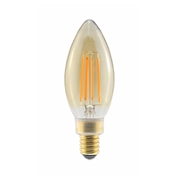Halco Decorative CA10 Candelabra Bulb, 4.5 Watt, E12 Base, Amber Lens, 2200K, Dimmable-View Product