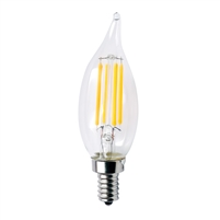 Halco Decorative CA10 Candelabra Bulb, 4.5 Watt, E12 Base, Clear Lens, 3000K, Dimmable-View Product