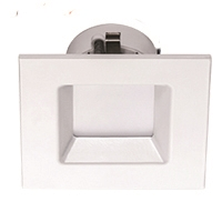 Halco Commercial Downlight Retrofit, Square, 4 Inch, 10 Watt, E26 Base, 3000K, White Baffle Trim, Dimmable-View Product