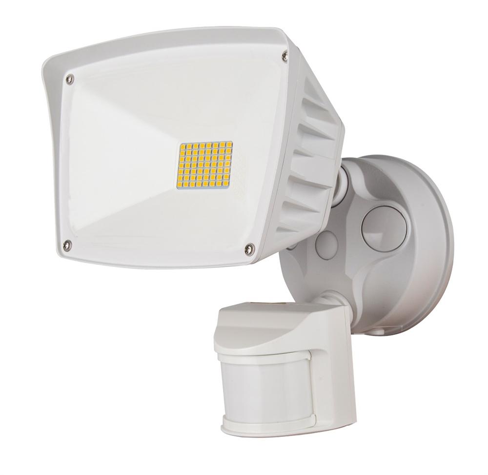 WestGate Security Lights, 28 Watt with PIR Sensor, 3000K, White Finish,  SL-28W-30K-WH-P