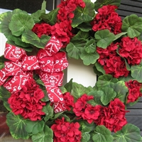 "20"" Geranium Wreath with Bandana Bow"