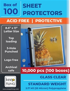 Crystal clear top load letter size sheet protectors. Total set of 10,000 sheet protectors.