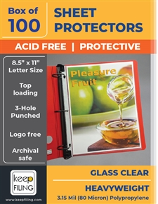 Clear Heavyweight Sheet Protectors for 3 Rings - Diamond Clear