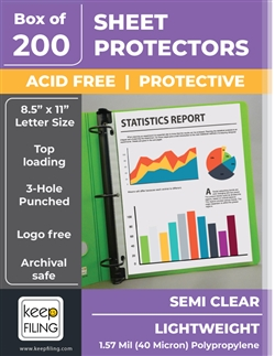Lightweight Sheet Protectors Semi Clear Economy Sheet Protectors