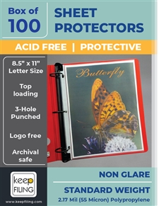Non Glare Standard Weight Sheet Protectors - Medium Weight