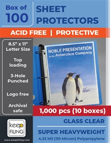 Super Heavyweight Glass Clear Sheet Protectors Set of 1,000 pieces (10 boxes)