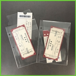Ticket stub holder for use with mini albums and binders