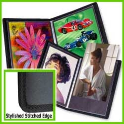 "Sheet protector book with stylish stitched edge and black acid free mounting sheets for 8""x10"" pages"