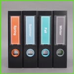 Solid Color Spine Label Template in Orange, Light Blue, Turquoise, Grey