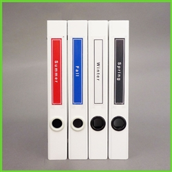 "Solid Color Spine Label Template for Slim 3/4"" D-ring binders"