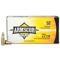 Armscor USA .22 TCM Jacketed Hollow Point, 40 Grain, 1875 fps, 50 ROUND BOX 22 TCM (Not .22LR)