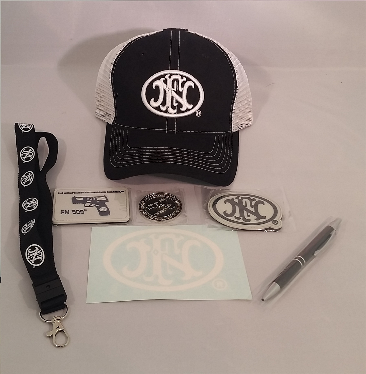 FN HERSTAL FNH STICKER, PEN, COIN, HAT, LANYARD, PATCHES, FN 509