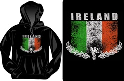 Distressed Irish Flag Hooded Sweatshirt