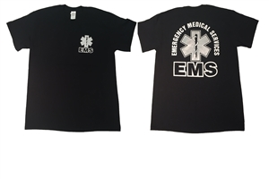 EMS Black with Metallic Print T-shirt