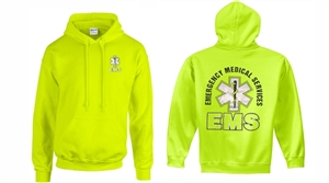 EMS Safety Green with Metallic print Hooded Sweatshirt