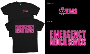 EMS T-shirt Black with pink Lifeline
