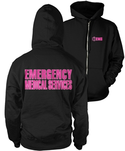 EMS Zipper Hooded Sweatshirt Black with pink Lifeline
