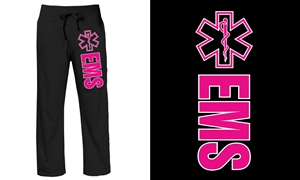 EMS Ladies Sweatpants Black with pink Lifeline