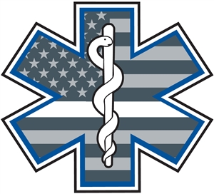 EMS Thin White Star of Life Life Decal