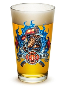 "Fire Fighter ""First in Last out""  16 oz Pint Glass"