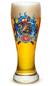 "Fire Fighter ""First in Last out""  23oz Pilsner Glass"