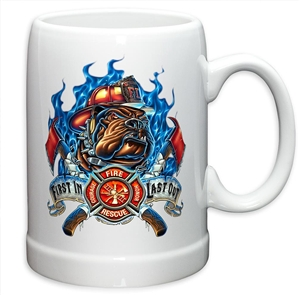"Fire Fighter ""First in Last out""  20oz Stein Stoneware"
