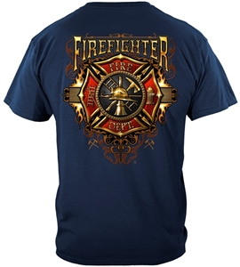 Firefighter Flames Gold Shield
