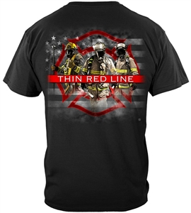 Firefighter American Flag Thin Red Line T-shirt