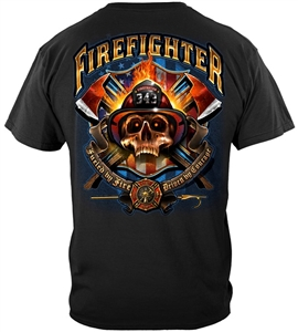 Firefighter Fueled by Fire Skull T-shirt