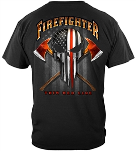 Firefighter Thin Red Line Skull T-shirt