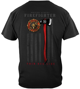 Firefighter Thin Red Line Axe T-shirt