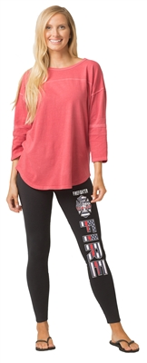 Firefighter Thin Red Line Flag Leggings