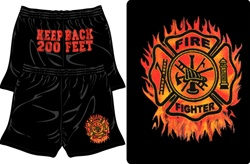 Firefighter Flaming Maltese Shorts