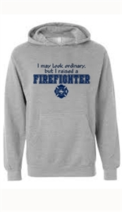 I Raised and Firefighter Heather Grey Hooded Sweatshirt