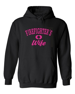 Firefighter's Wife Distressed Hoodie Black