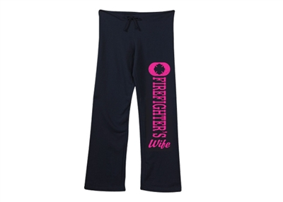 Firefighter's Wife Distressed Ladies Sweatpants (open leg)