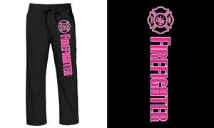 Ladies' Sweatpants Firefighter Lifeline Black with pink & white print
