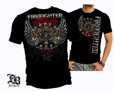 Elite Breed Firefighter Pride Duty Honor Foil Stamp T-shirt