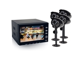 First Alert BRK HS-4705-400 4 Indoor/Outdoor Wired Color Camera with 7 inch LCD Screen, 500GB DVR, Night Vision, and Passive IR Motion Detection
