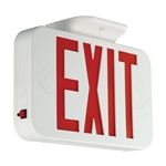 Compass Lighting CAR White Thermoplastic Exit, Universal Face, Red LED, AC Only Emergency Exit, 120V-277V