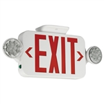 Compass Lighting CCR LED White Thermoplastic Combination Exit/Emergency Light, 120V-277V, Universal Single or Double-Face, Red Letters