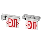 Compass Lighting CELR2RNE Edge-Lit LED Emergency Exit, 120V-277V, Recessed Mount, Double Face, Red Letters, Brushed Aluminum with Battery